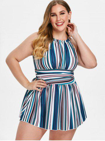 Plus Size Stripe Cut Out Ruched Tankini Set