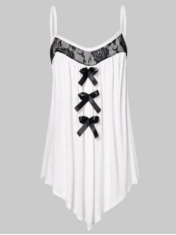 Lace Panel Plus Size Bowknot Embellished Cami Top - WHITE - 1X