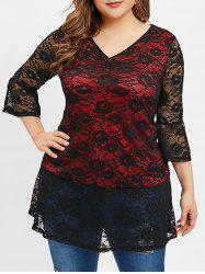 Plus Size Lace Overlay Long Tunic Blouse -