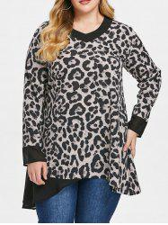 Plus Size Three Quarter Sleeve leopard Print Mesh Panel T-shirt -
