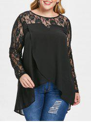 Plus Size See Through High Low Blouse -