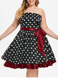 Plus Size Vintage Strapless Polka Dot Pin Up Dress -