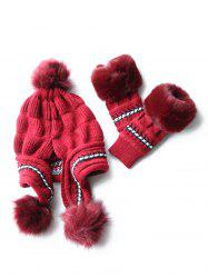 Stylish Winter Knitted Hat Gloves Set -
