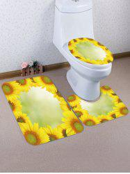 Sunflowers Pattern 3 Pcs Toilet Mat Set -