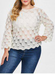 Round Neck Plus Size Fish Scale Sweater -