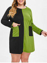 Plus Size Color Block Long Sleeve Mini Dress -