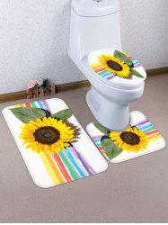 Rainbow Sunflower Pattern 3 Pcs Toilet Mat Set -