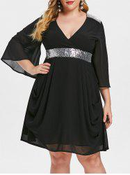 Plus Size Sequined Flare Sleeve Chiffon Dress -
