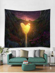 Heart Hole Mountain Print Wall Tapestry -