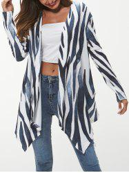 Open Front Printed Asymmetrical Cardigan -