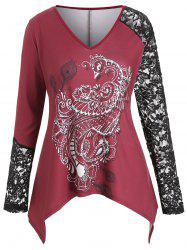 V Neck Lace Panel Printed Plus Size Top -
