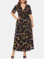 Plus Size V Neck Wrap Long Dress -