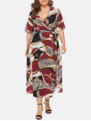 Plus Size Printed V Neck Wrap Long Dress -