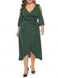 Plus Size Open Shoulder Asymmetrical Wrap Dress -