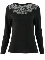Sheer Mesh Panel Embroidery T Shirt -