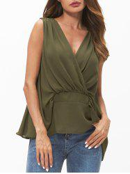 V Neck Chiffon Tank Top -
