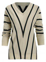 Striped Batwing Sleeve Pullover Sweater -