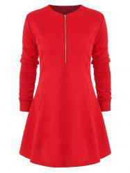 Long Sleeve Half Zip Mini Dress -