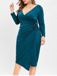 Plunging Neck Plus Size Bodycon Knee Length Dress -