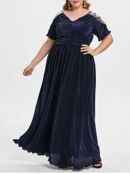 Plus Size Cut Out  Glitter Maxi Dress -