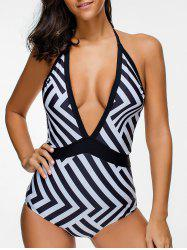Halter Low Cut Backless Zigzag One-piece Swimsuit -