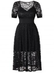 Plus Size Lace See Through Dress -