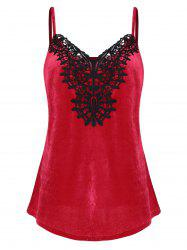 Plus Size Lace Applique Velvet Tank Top -