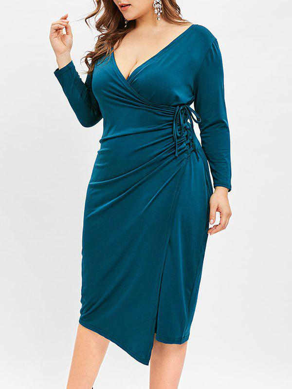 Chic Plunging Neck Plus Size Bodycon Knee Length Dress