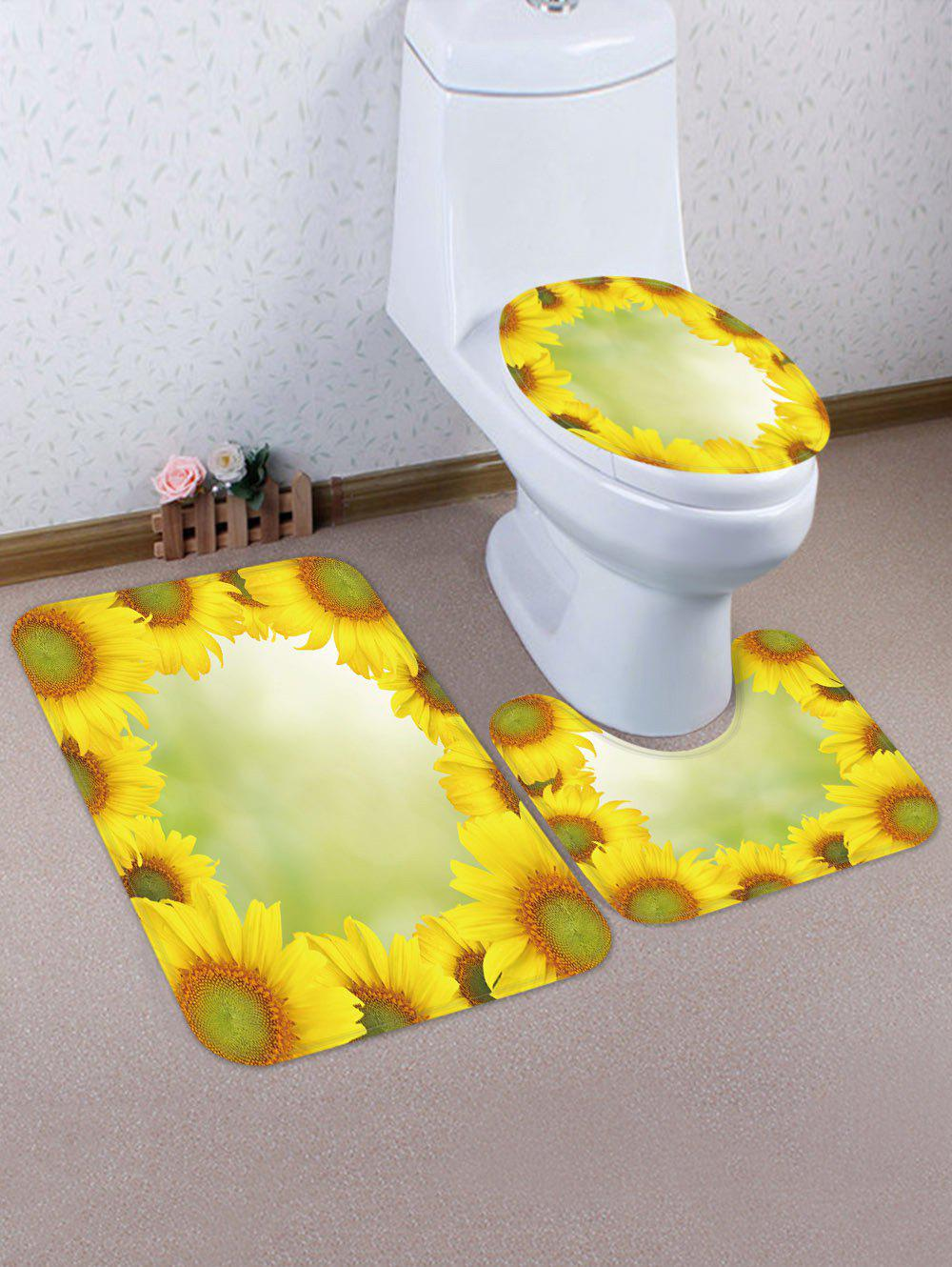 Affordable Sunflowers Pattern 3 Pcs Toilet Mat Set