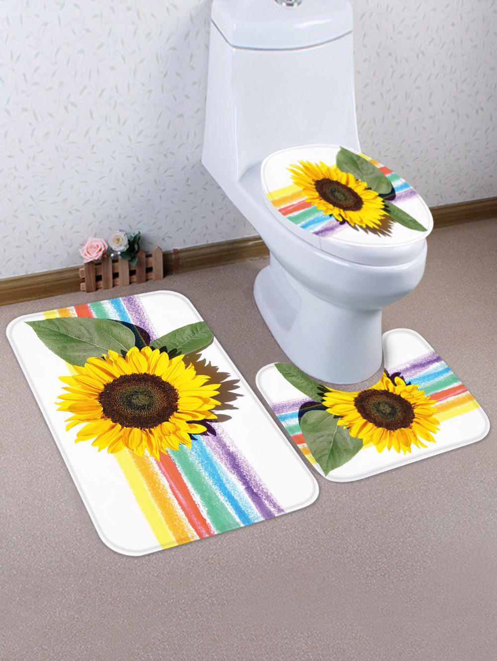 Latest Rainbow Sunflower Pattern 3 Pcs Toilet Mat Set
