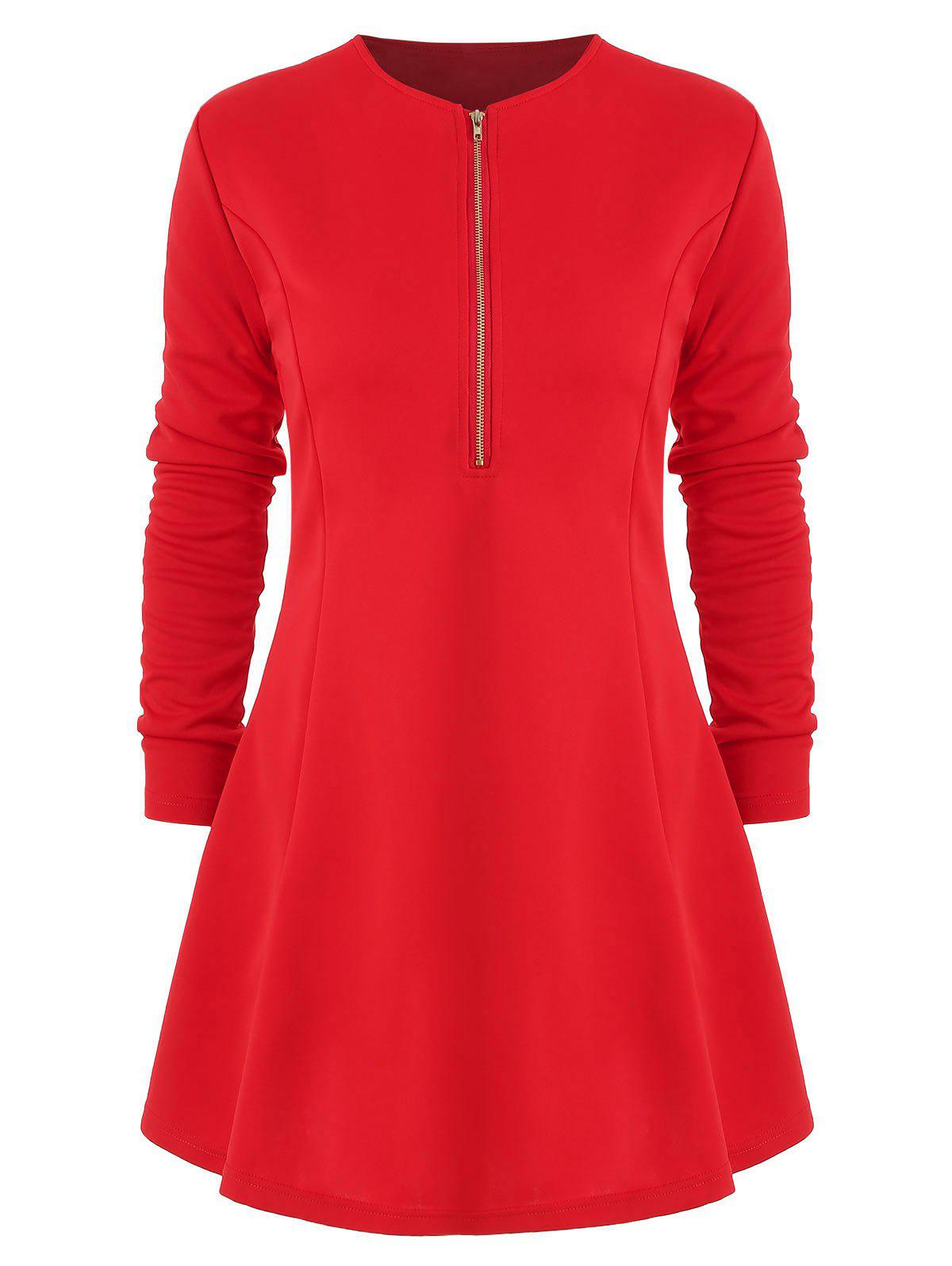 Affordable Long Sleeve Half Zip Mini Dress