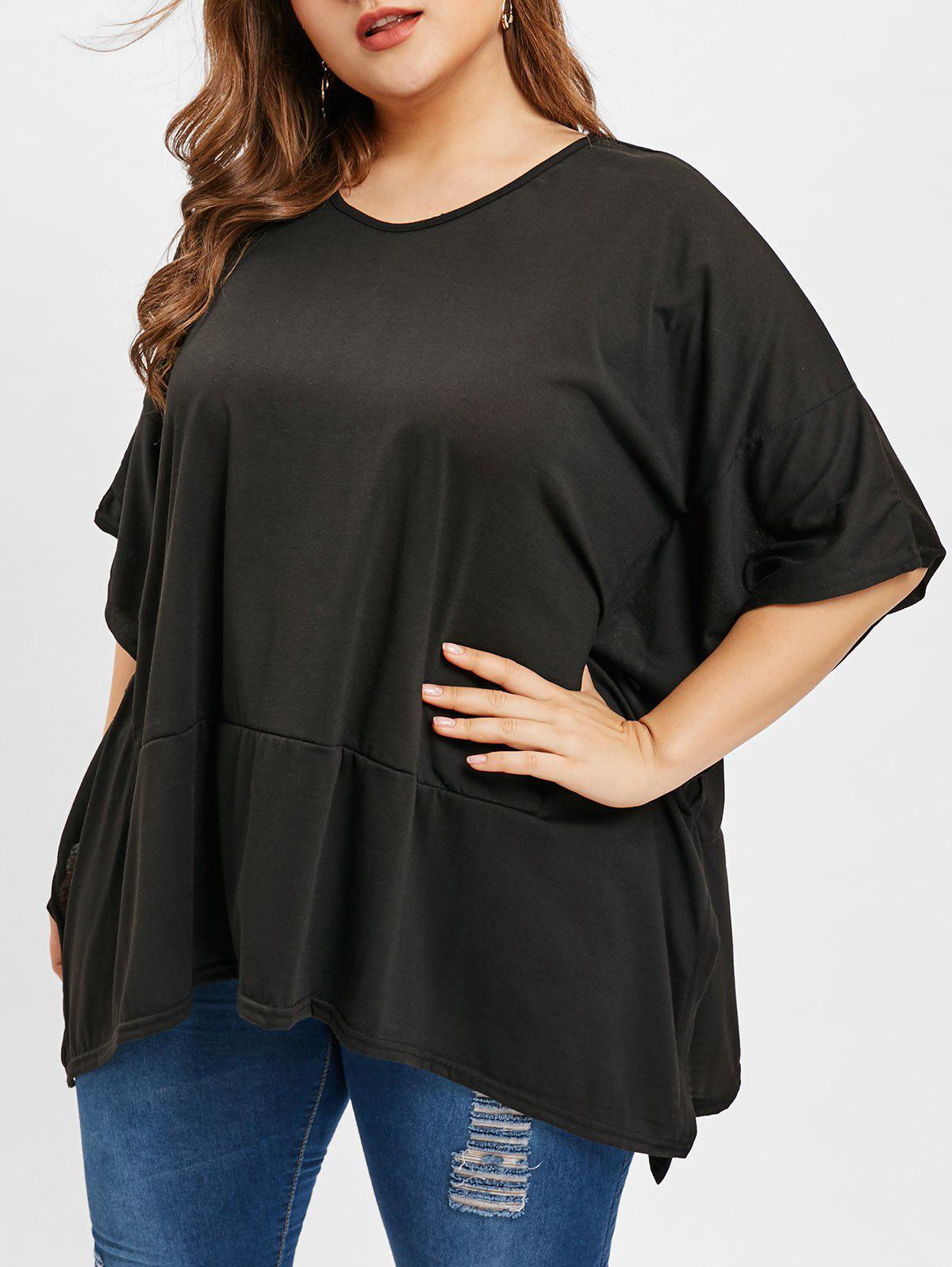 69b9eb37c6d 2019 Plus Size Batwing Sleeve V Neck T-shirt