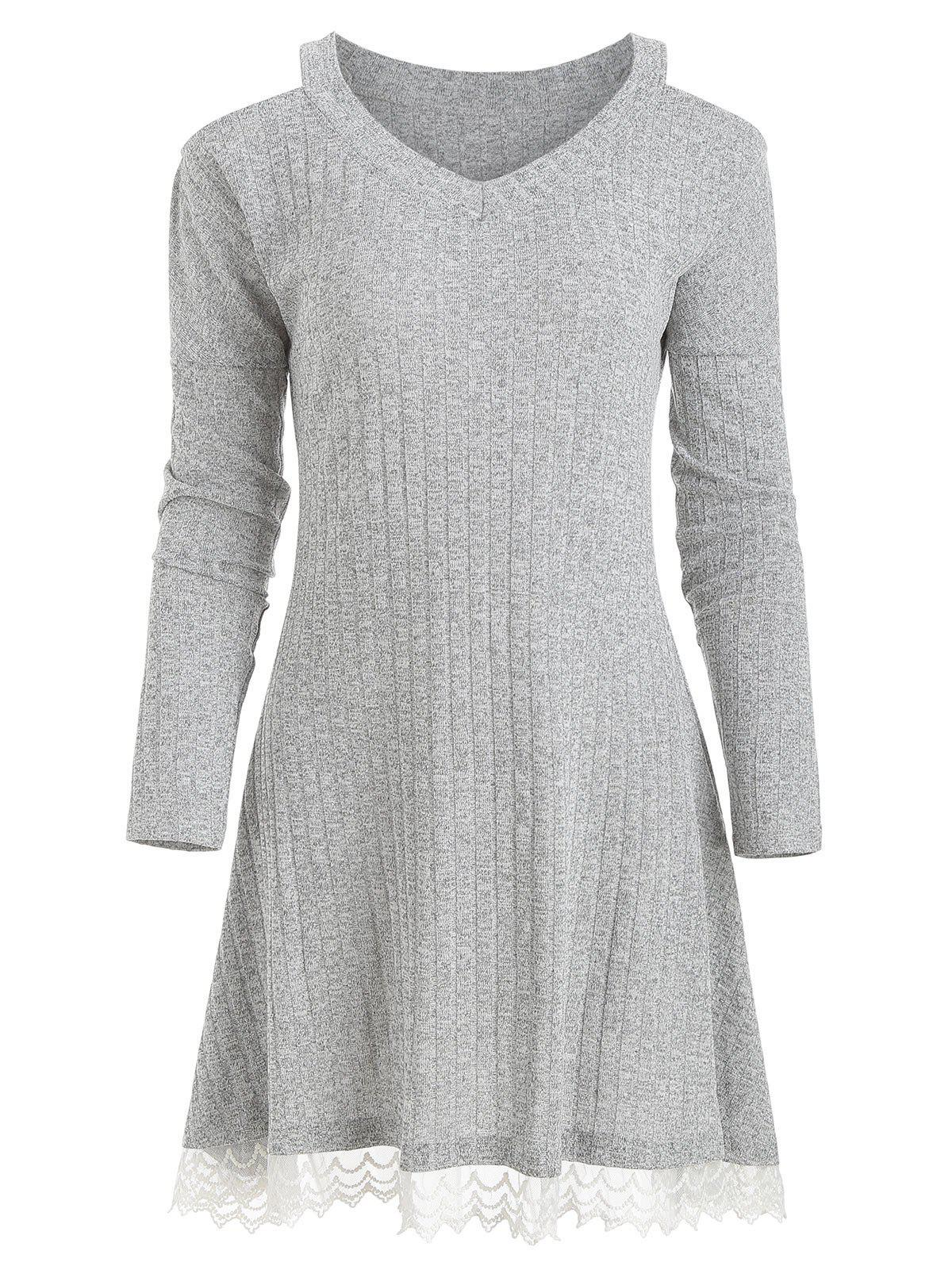 Latest Knit Lace Panel Cold Shoulder Dress