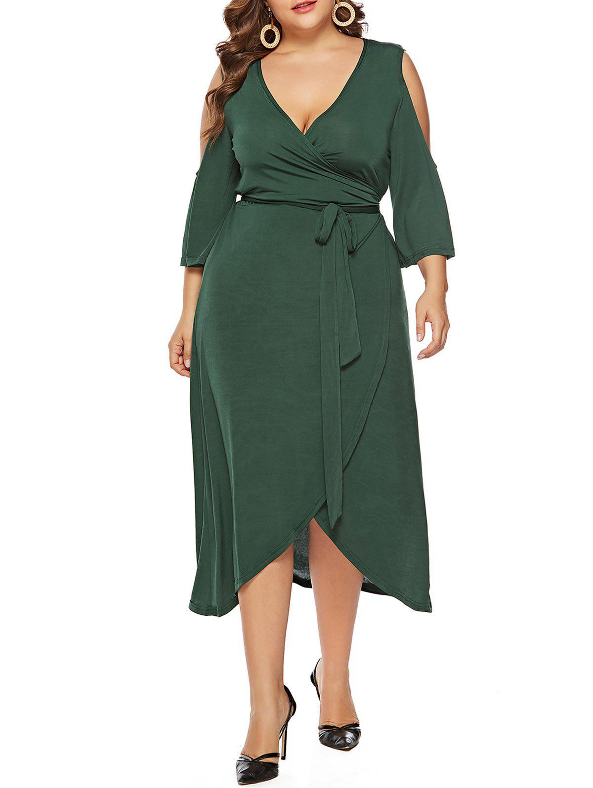 Fancy Plus Size Open Shoulder Asymmetrical Wrap Dress