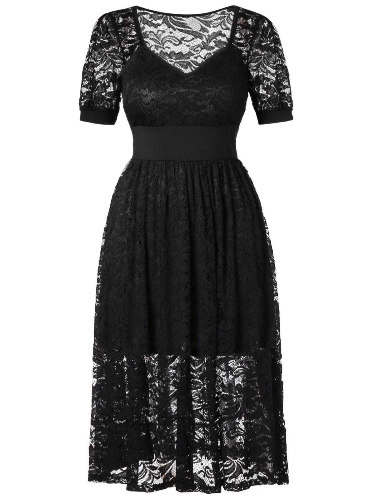 Trendy Plus Size Lace See Through Dress