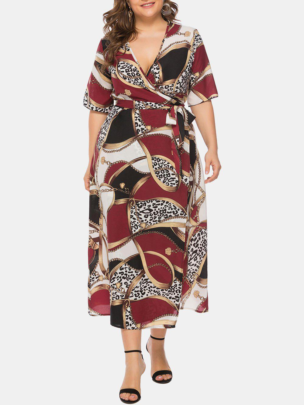 Online Plus Size Printed V Neck Wrap Long Dress