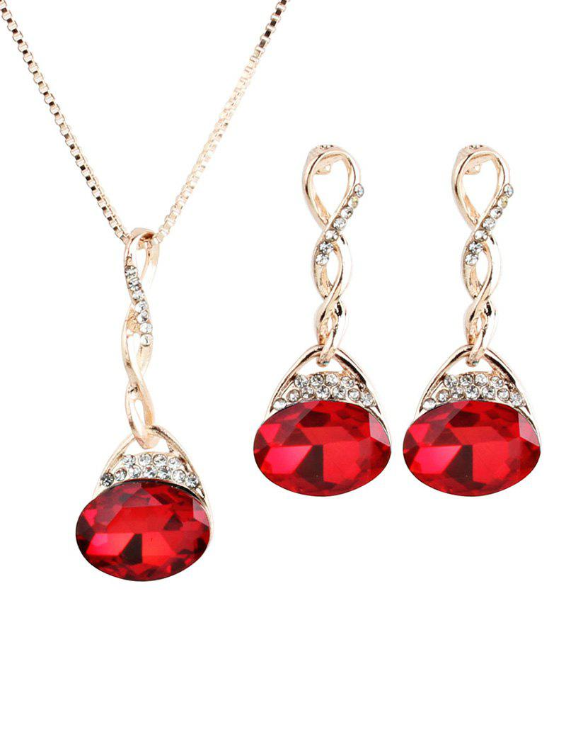 New Gem Geometric Rhinestone Necklace Earrings Set