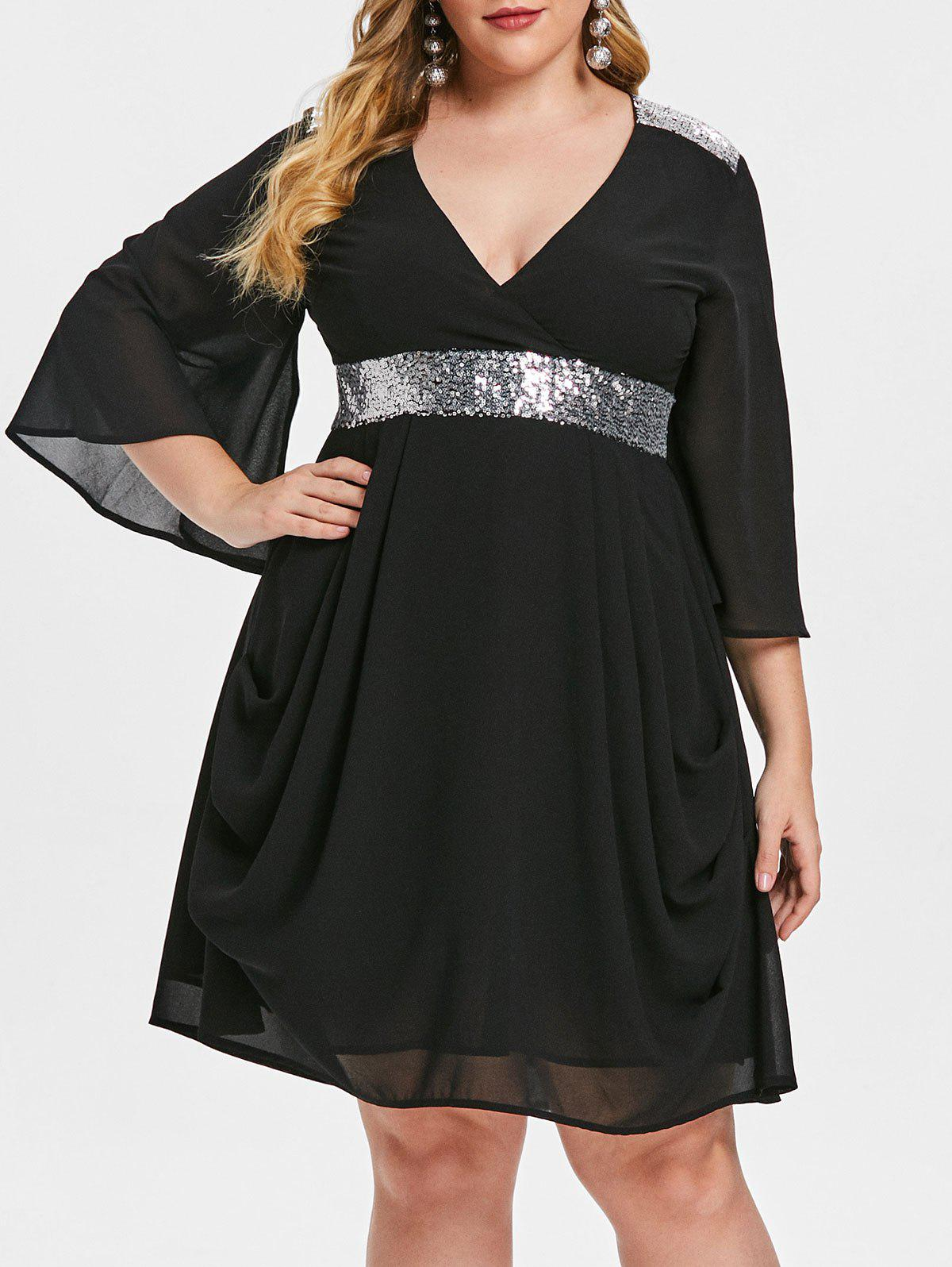 Chic Plus Size Sequined Flare Sleeve Chiffon Dress