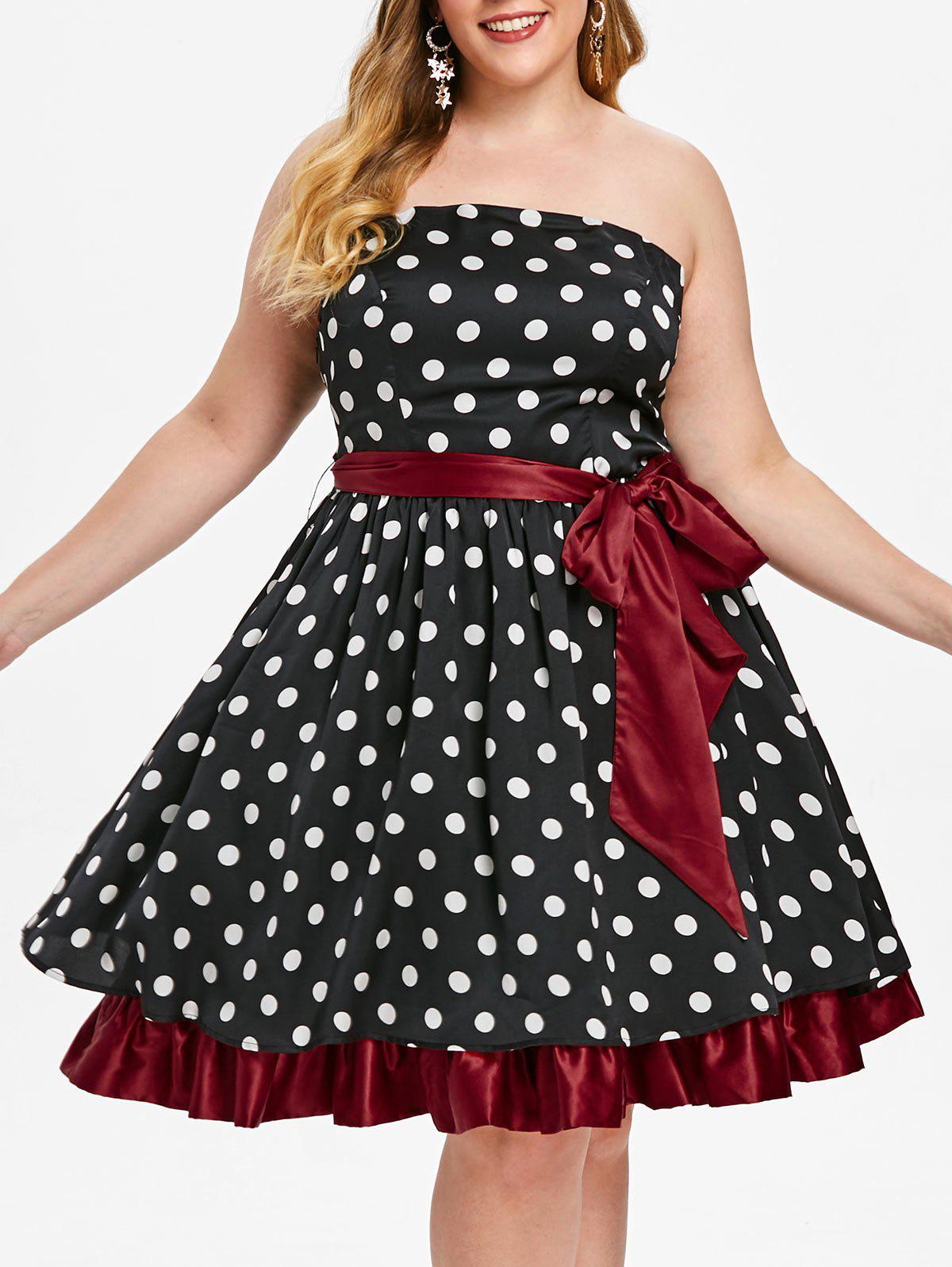 Affordable Plus Size Vintage Strapless Polka Dot Pin Up Dress