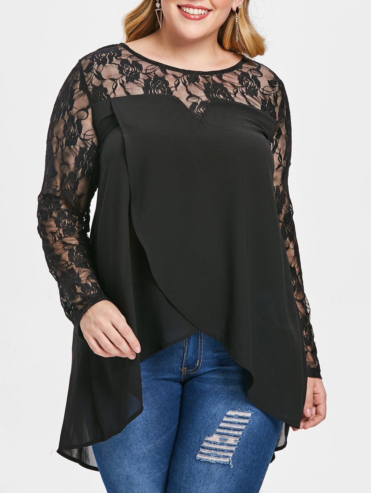 Chic Plus Size See Through High Low Blouse