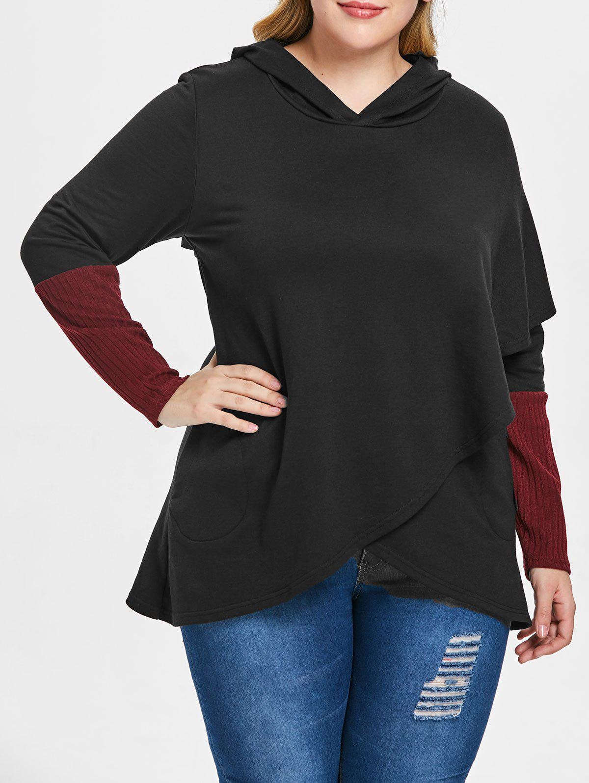 Outfits Plus Size Hit Color Wrap Hoodie