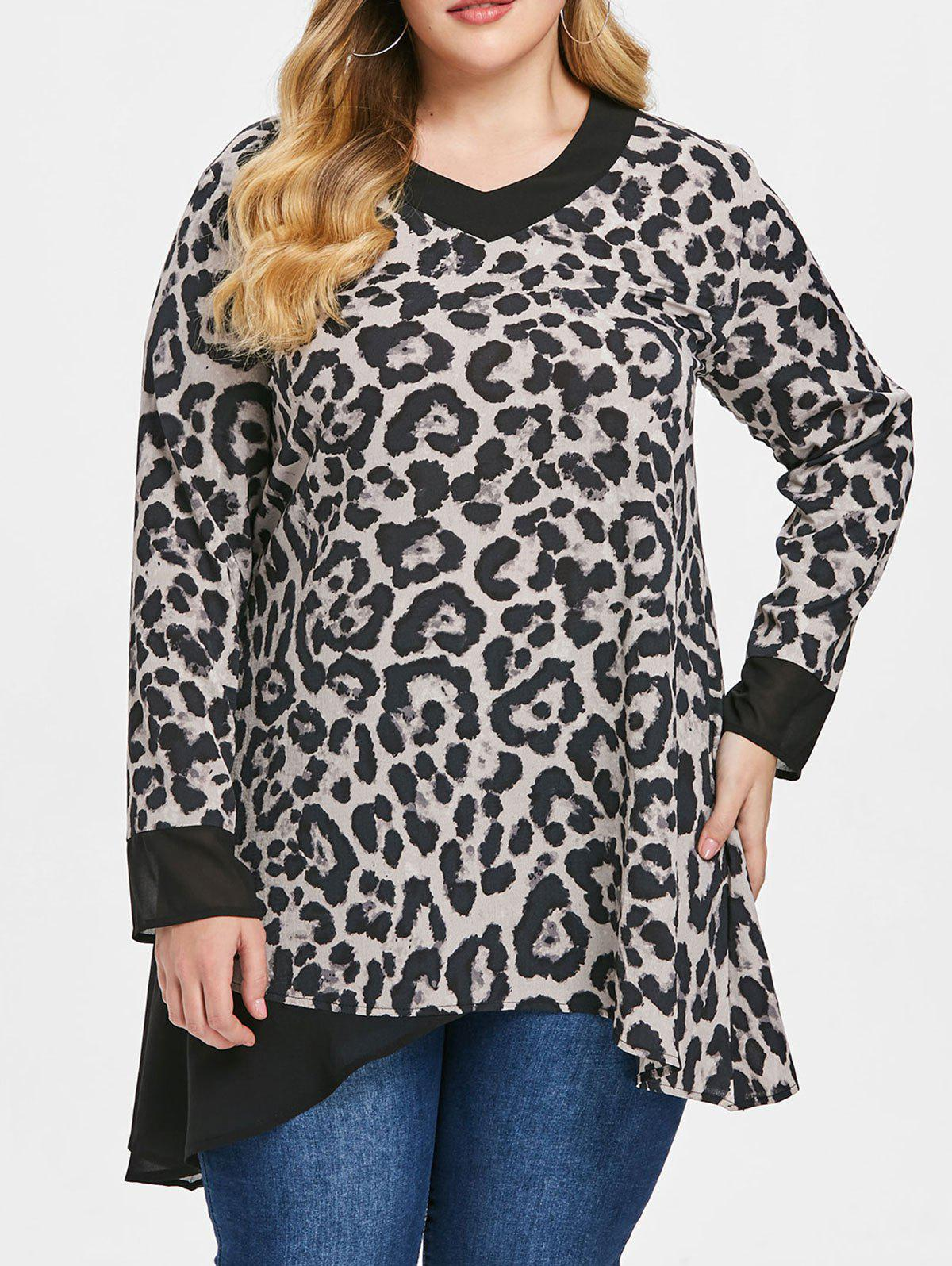 Unique Plus Size Three Quarter Sleeve leopard Print Mesh Panel T-shirt
