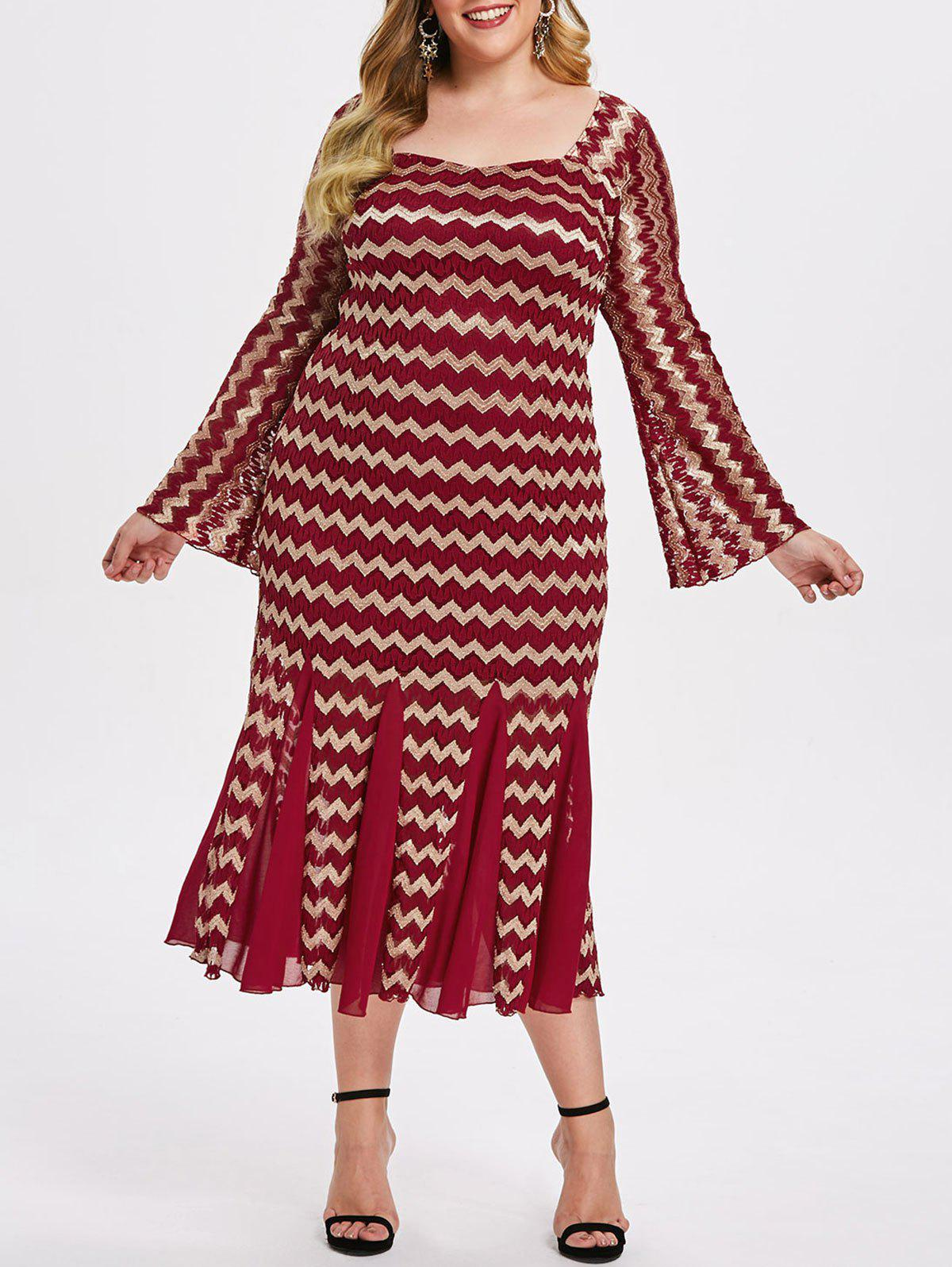 Outfits Plus Size Zigzag Lace Mermaid Dress