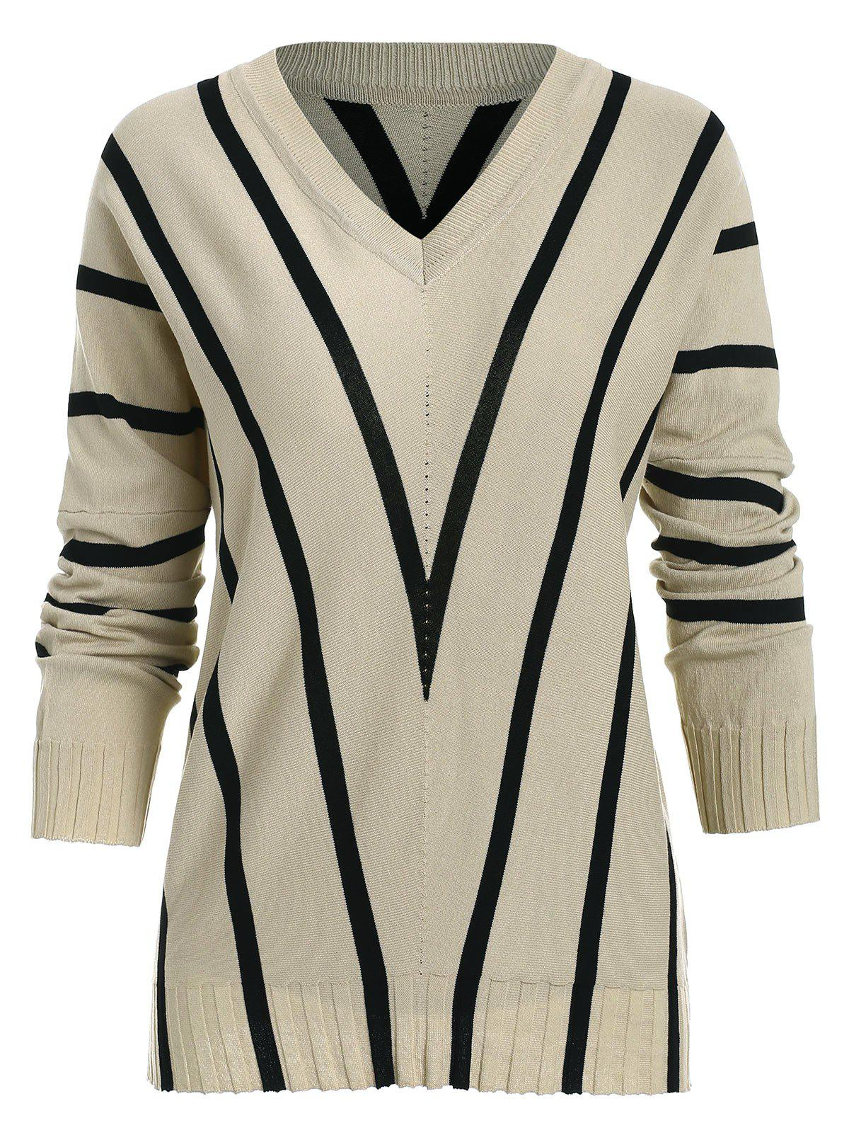 Unique Striped Batwing Sleeve Pullover Sweater
