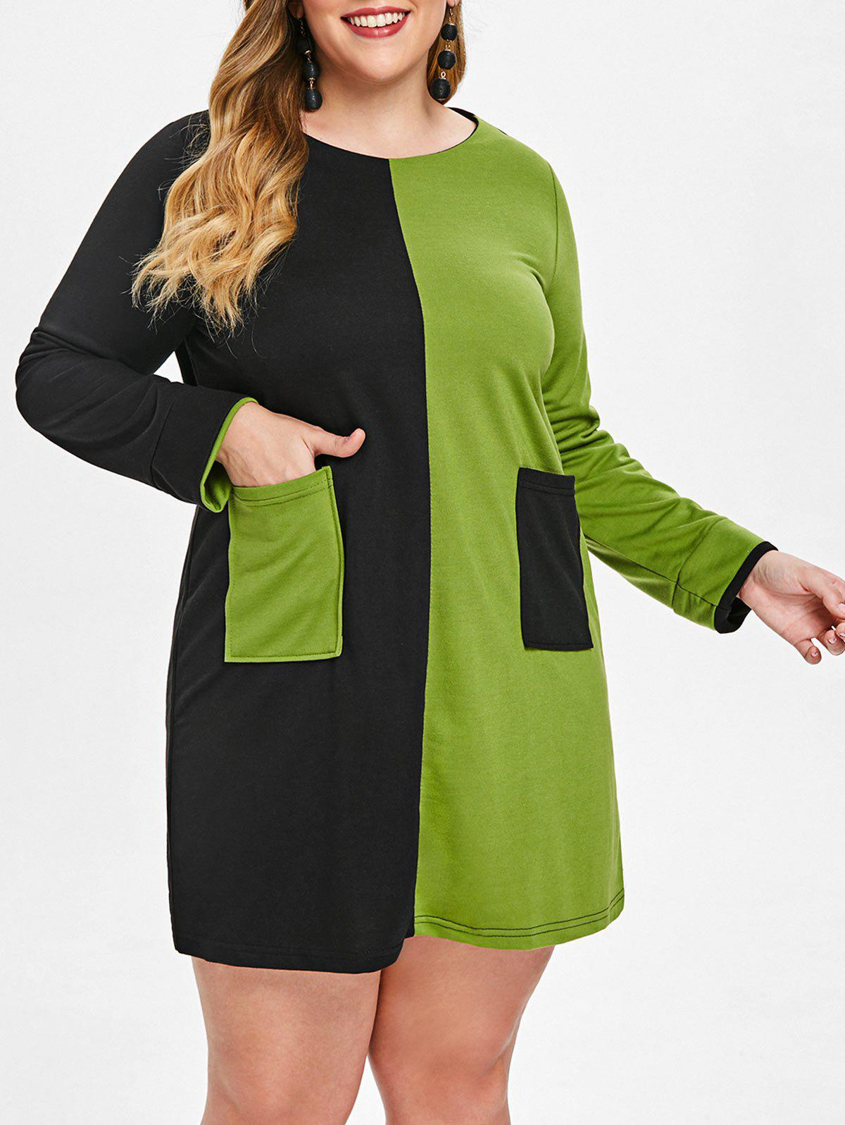 Store Plus Size Color Block Long Sleeve Mini Dress