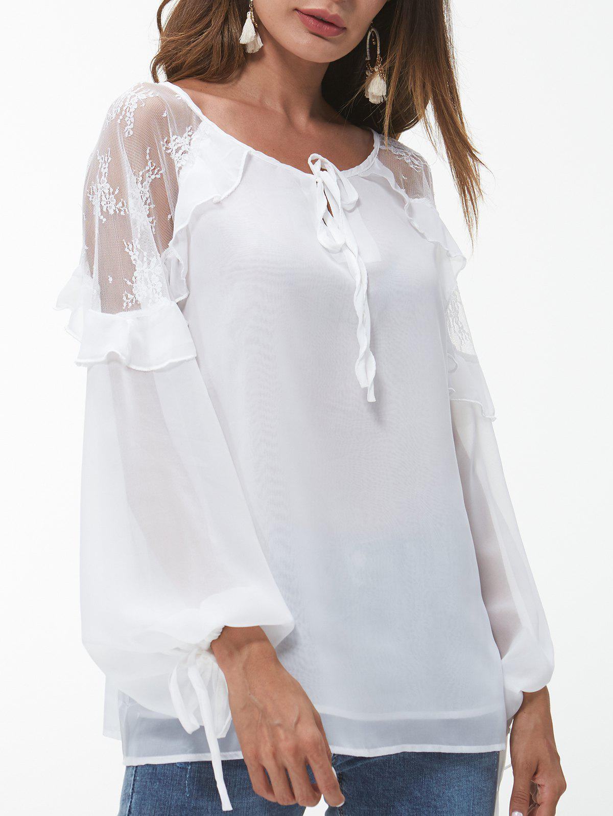 Outfits Lace Panel Ruffle Trim Blouse