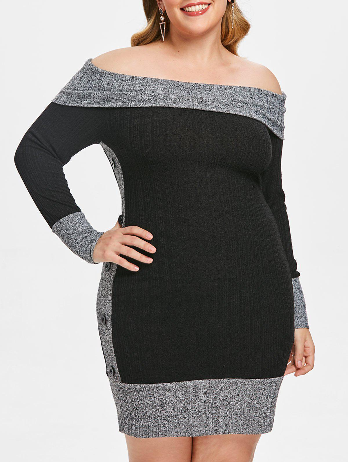 Hot Plus Size Contrast Trim Off Shoulder Mini Knit Dress