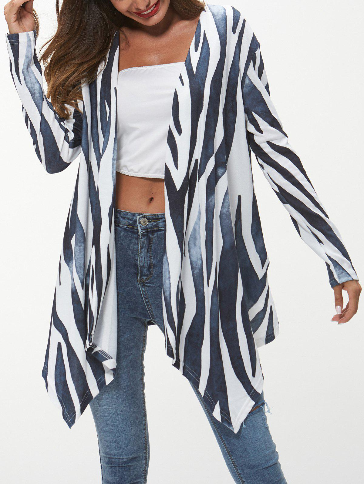 Discount Open Front Printed Asymmetrical Cardigan