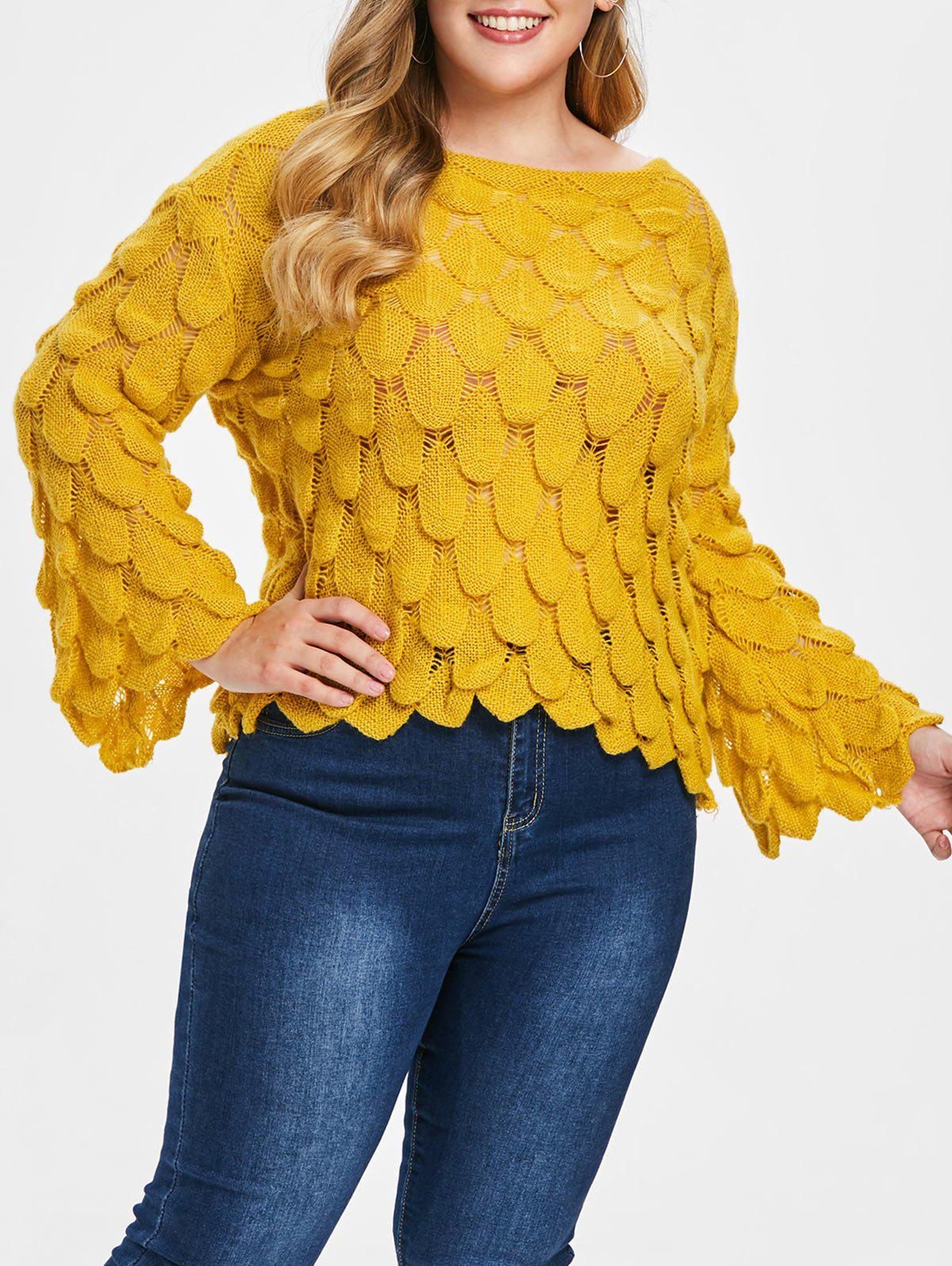 Online Round Neck Plus Size Fish Scale Sweater