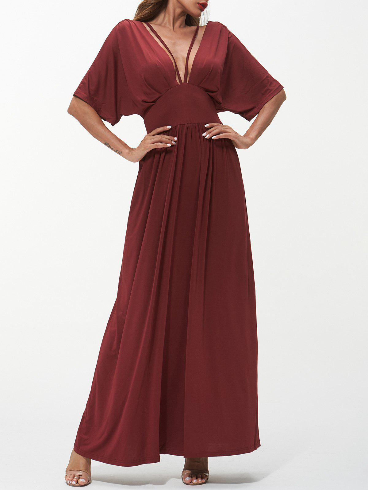 Shops Plunging Neck Strappy Maxi Dress